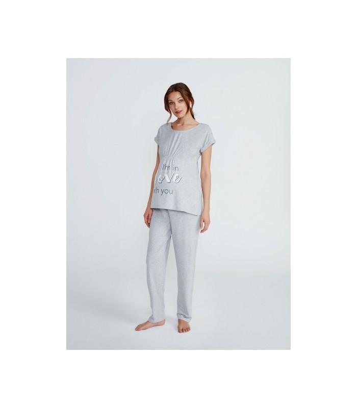 b51961a79 Pijama maternal con clips para lactancia